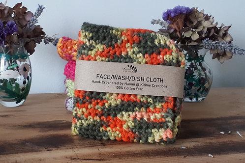 Green, Orange & Lime Face/Wash/Dish Cloth