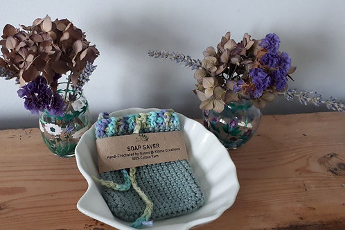 Teal with Multicolour Top  Soap Saver