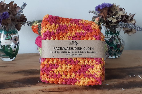 Orange, Cerise and Yellow Face/Wash/Dish Cloth