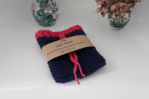 Navy and Cerise  Soap Saver