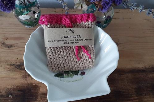Tan and Cerise  Soap Saver