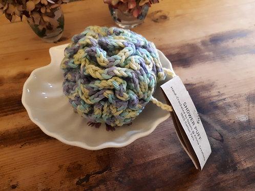 Blue/Lime/Lavender Multicoloured Shower Puff -Medium