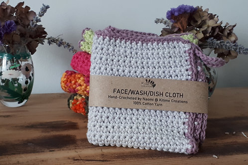 Lavender and Lilac Face/Wash/Dish Cloth