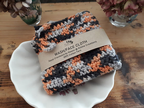 Black and Orange Multicoloured Face/Wash/Dish Cloth