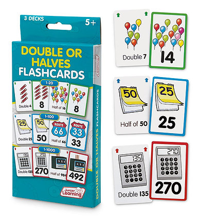 Double or Halves Flash Cards - Set of 162