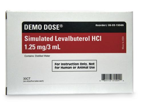 Demo Dose® Simulated Inhalation Medication - Levalbuterol HCL -0 1.25 mg/3 ml