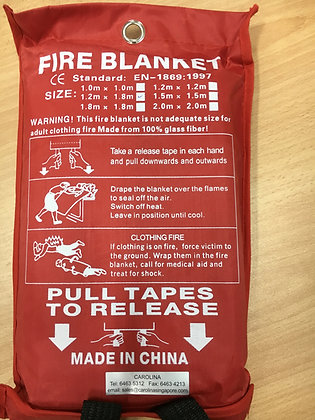 Fire Blanket Size: 1.2m x 1.8m 100% Fibreglass, non-asbestos