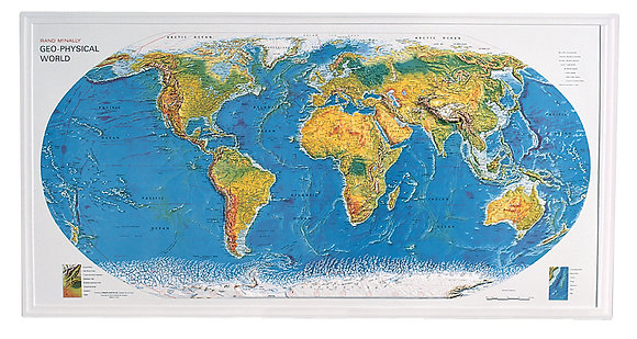 Geophysical World Relief Map Without Framed