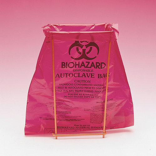 Bel-Art Benchtop Biohazard Disposal Bags with Holder, Box of 100