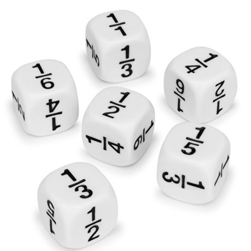 Math Fraction Dice Set, Set of 6