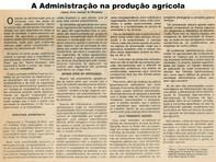 A administração na produção agrícola