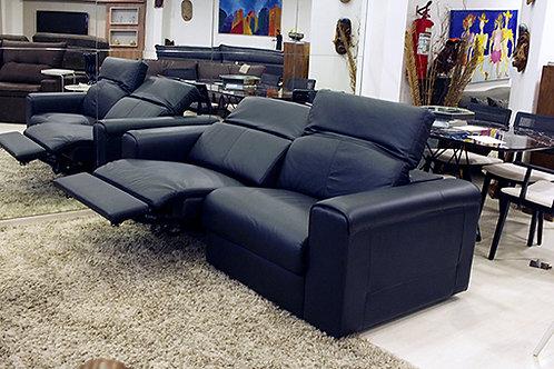 House - :  Sofá de couro retrátil elétrico minuano