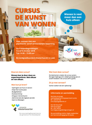 Nieuwe cursus De Kunst van Wonen voor mensen met een beperking | oktober 2018 Groningen
