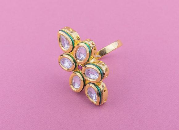 Dainty Ruby Kundan Ring