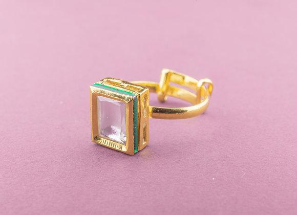 Tip Toe Kundan Ring - Emerald