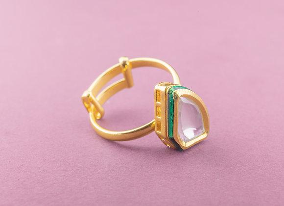 Tip Toe Kundan Ring - Fan