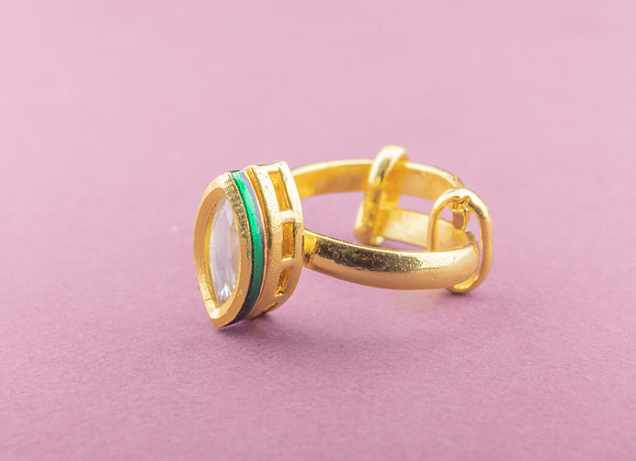 Tip Toe Kundan Ring - Marquise