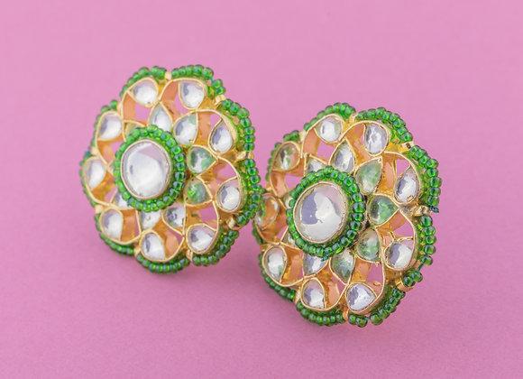 Kunan Phool Earrings - Emerald