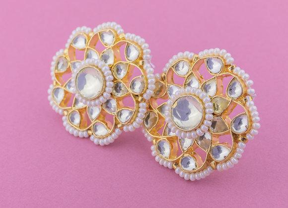 Kundan Phool Earrings - Pearl