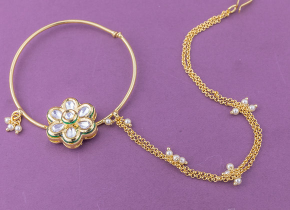 Kundan Flower Nose Ring (available in 2 colours)