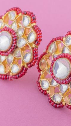 Red: Kundan Phool Earrings