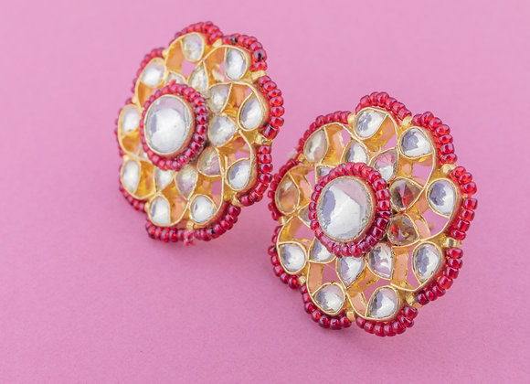 Kundan Phool Earrings - Ruby