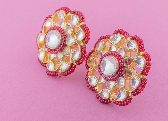 Kundan Phool Earrings - Ruby