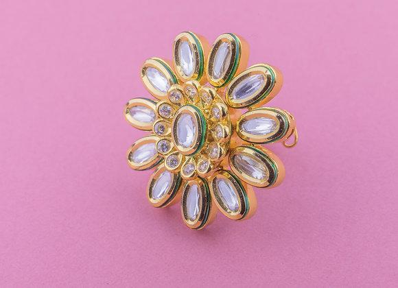 Statement Flower Kundan Ring