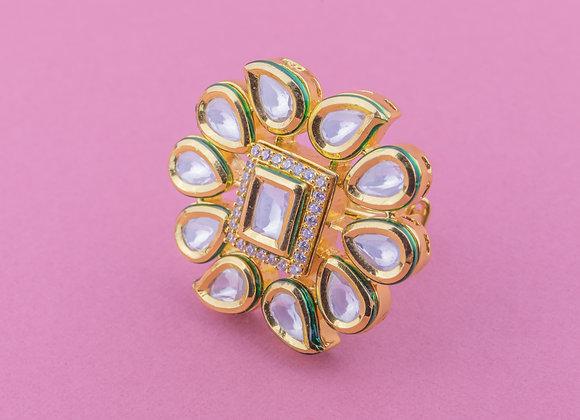 Emerald Kundan Ring