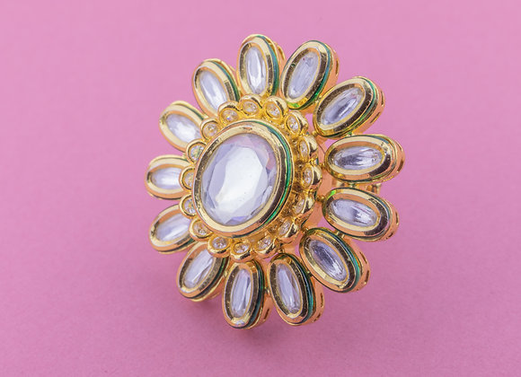 Large Statement Flower Kundan Ring