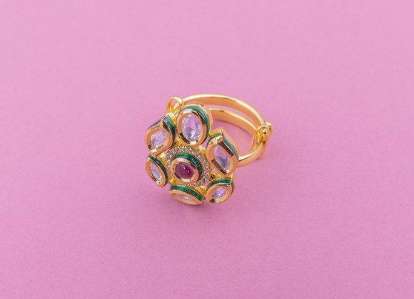 Dainty Ruby Crystal Kundan Ring