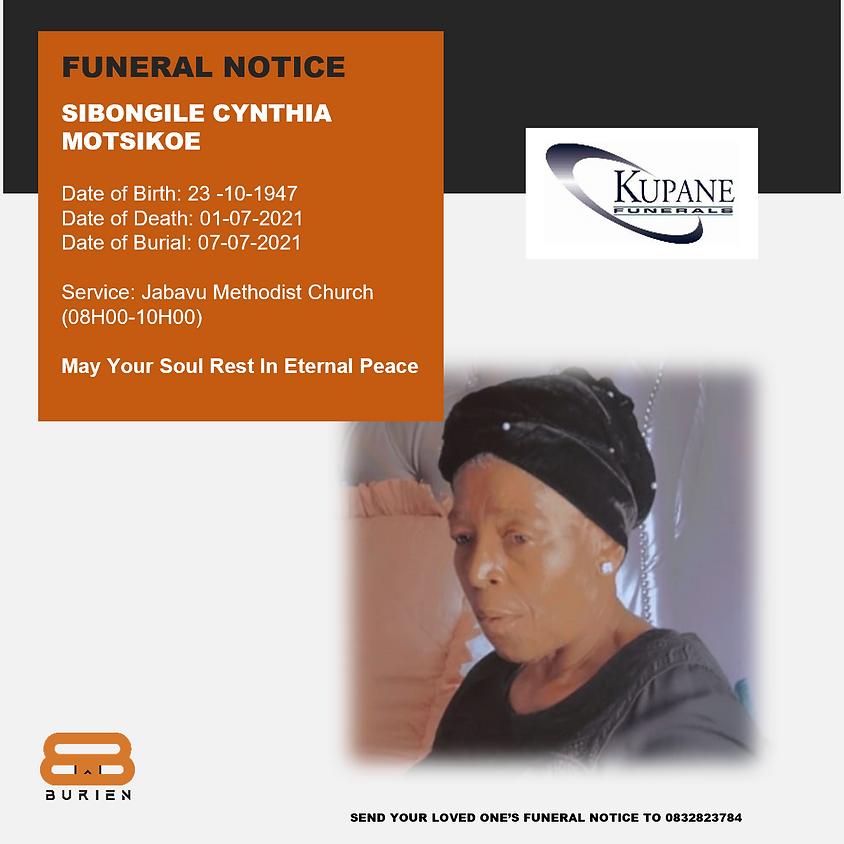 Funeral Notice Of The Late Sibongile Cynthia Motsikoe
