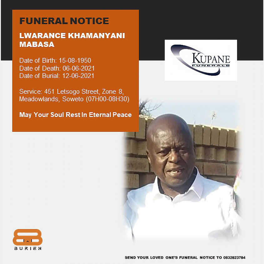 Funeral Notice of the late Lwarance Khamanyani Mabasa