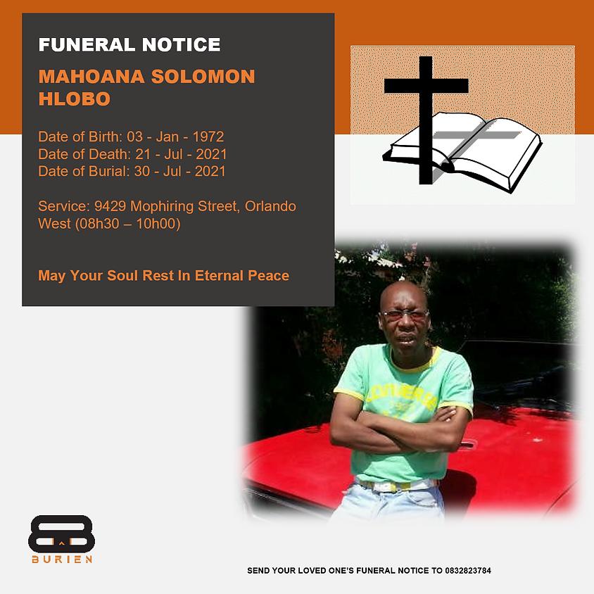 Funeral Notice Of The Late  Mahoana Solomon Hlobo