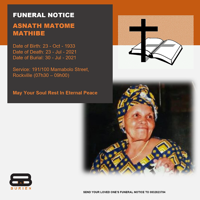 Funeral Notice Of The Late Asnath Matome Mathibe