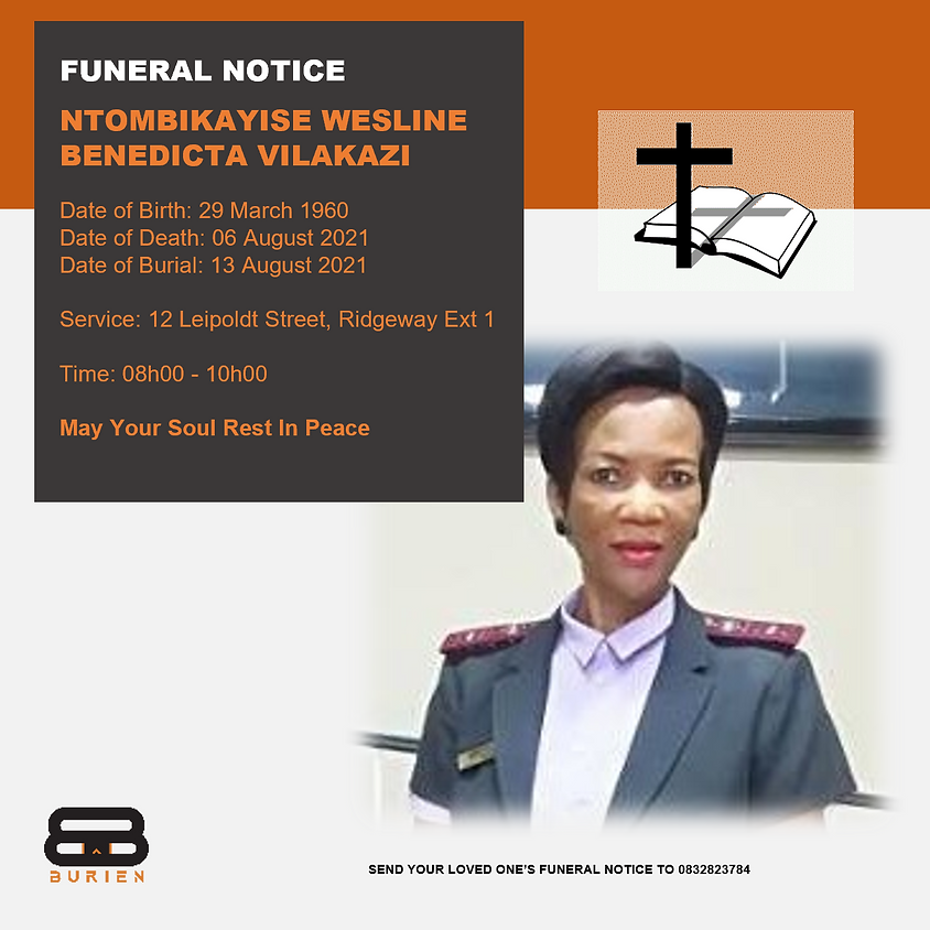 Funeral Notice Of The Late Ntombikayise Wesline Benedicta Vilakazi