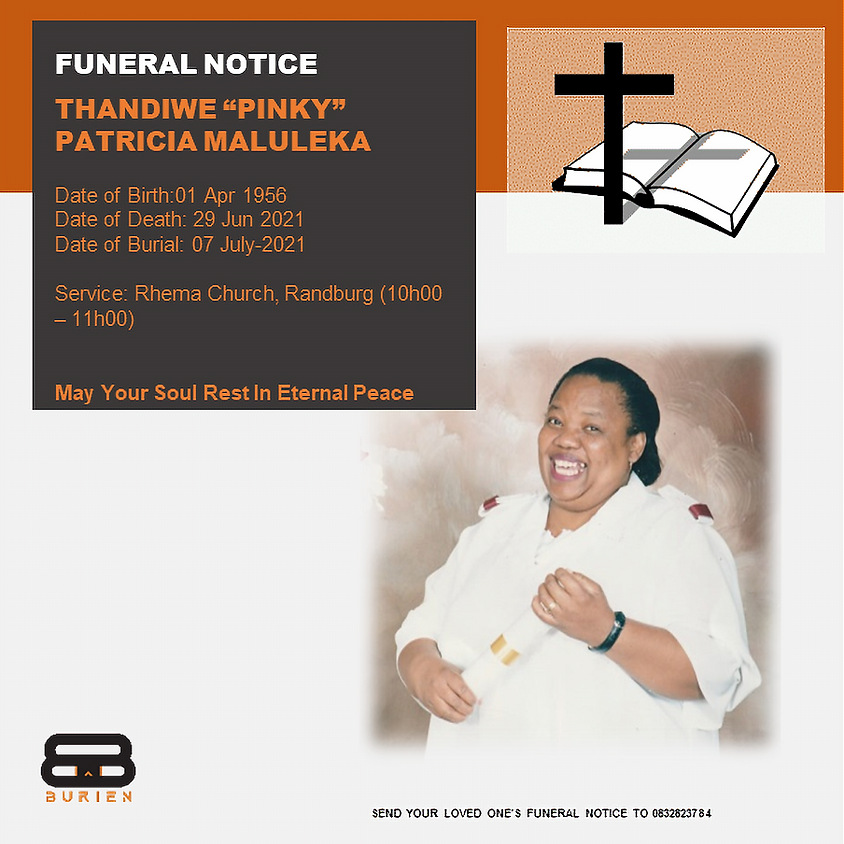 """Funeral Notice Of The Late Thandiwe """"Pinky""""  Patricia Maluleka"""