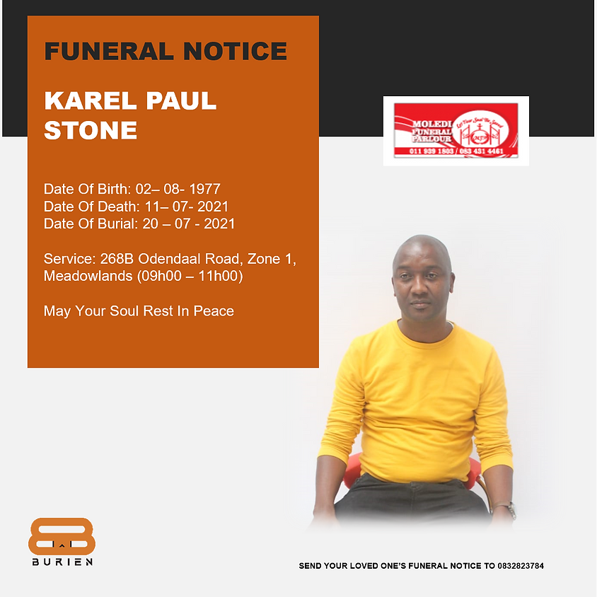 Funeral Notice Of The Late Karel Paul Stone
