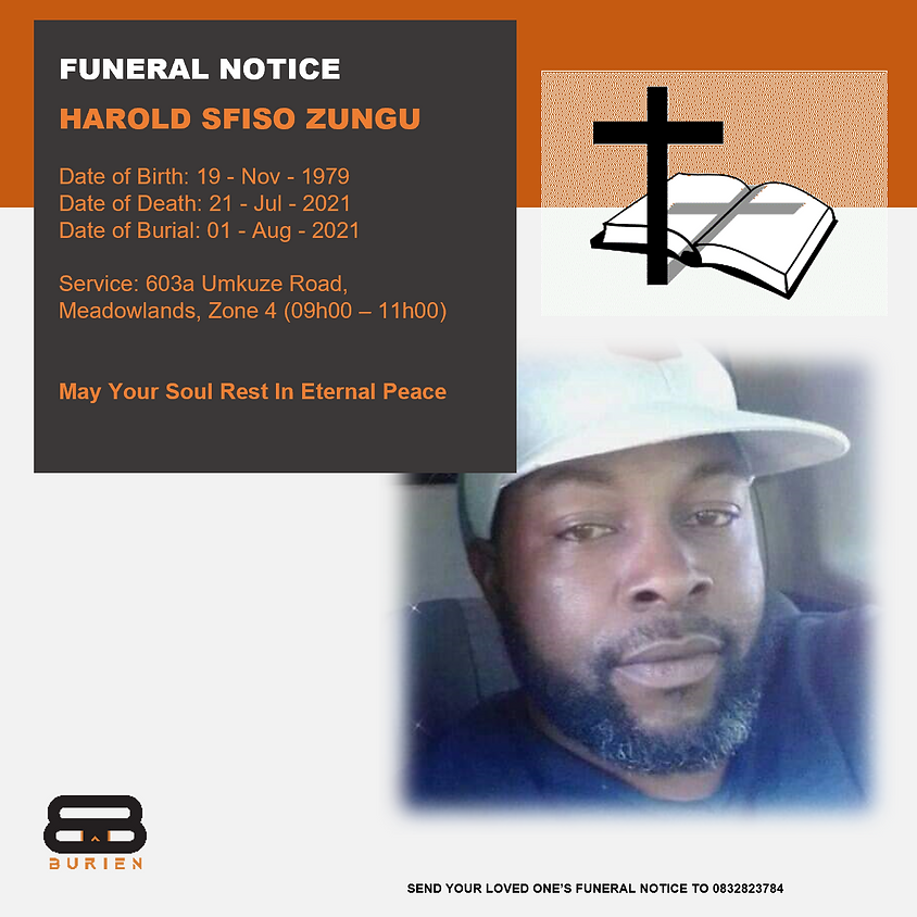 Funeral Notice Of The Late Harold Sfiso Zungu
