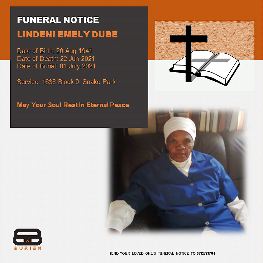 Funeral Notice Of The Late Lindeni Emely Dube