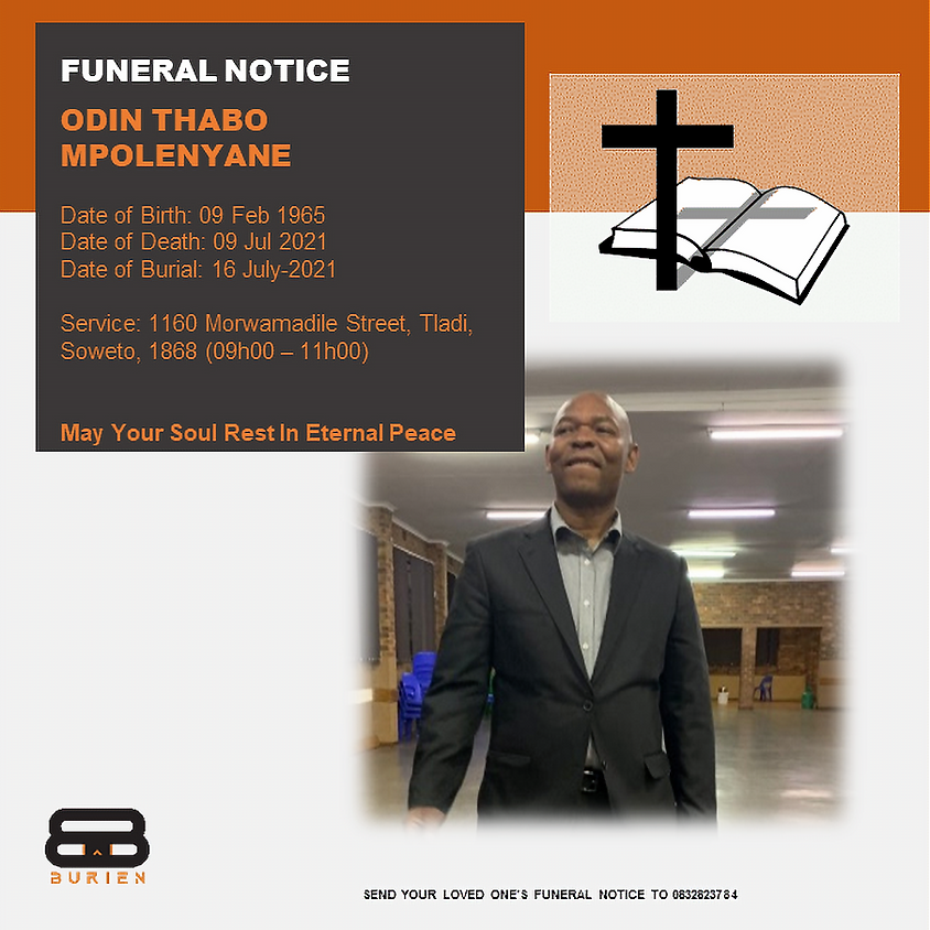 Funeral Notice Of The Late Odin Thabo Mpolenyane