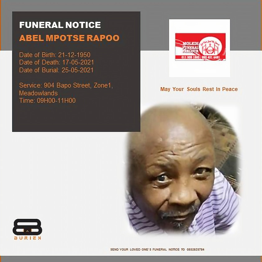 Funeral Notice of the late Abel Mpotse Rapoo