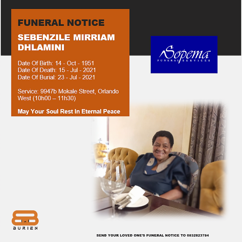 Funeral Notice Of The Late Sebenzile Mirriam Dhlamini