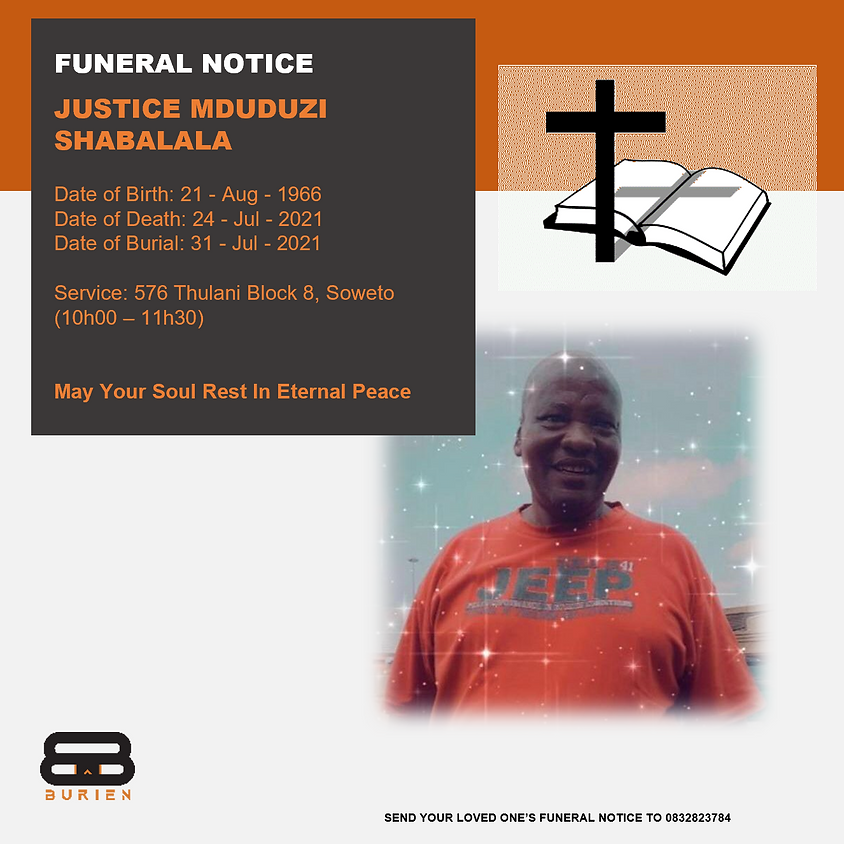 Funeral Notice Of The Late Justice Mduduzi Shabalala