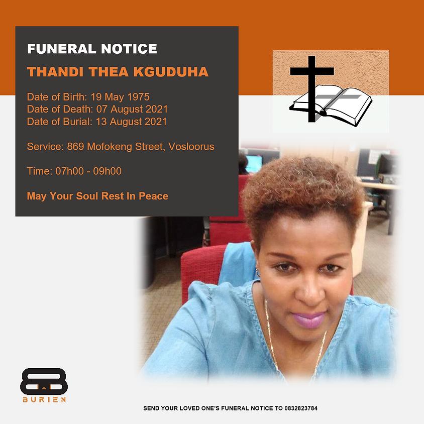 Funeral Notice Of The Late Thandi Thea Kguduha