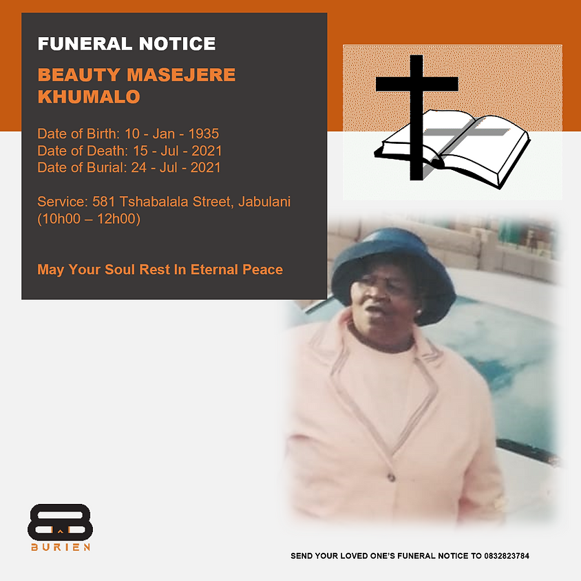 Funeral Notice Of The Late Beauty Masejere Khumalo