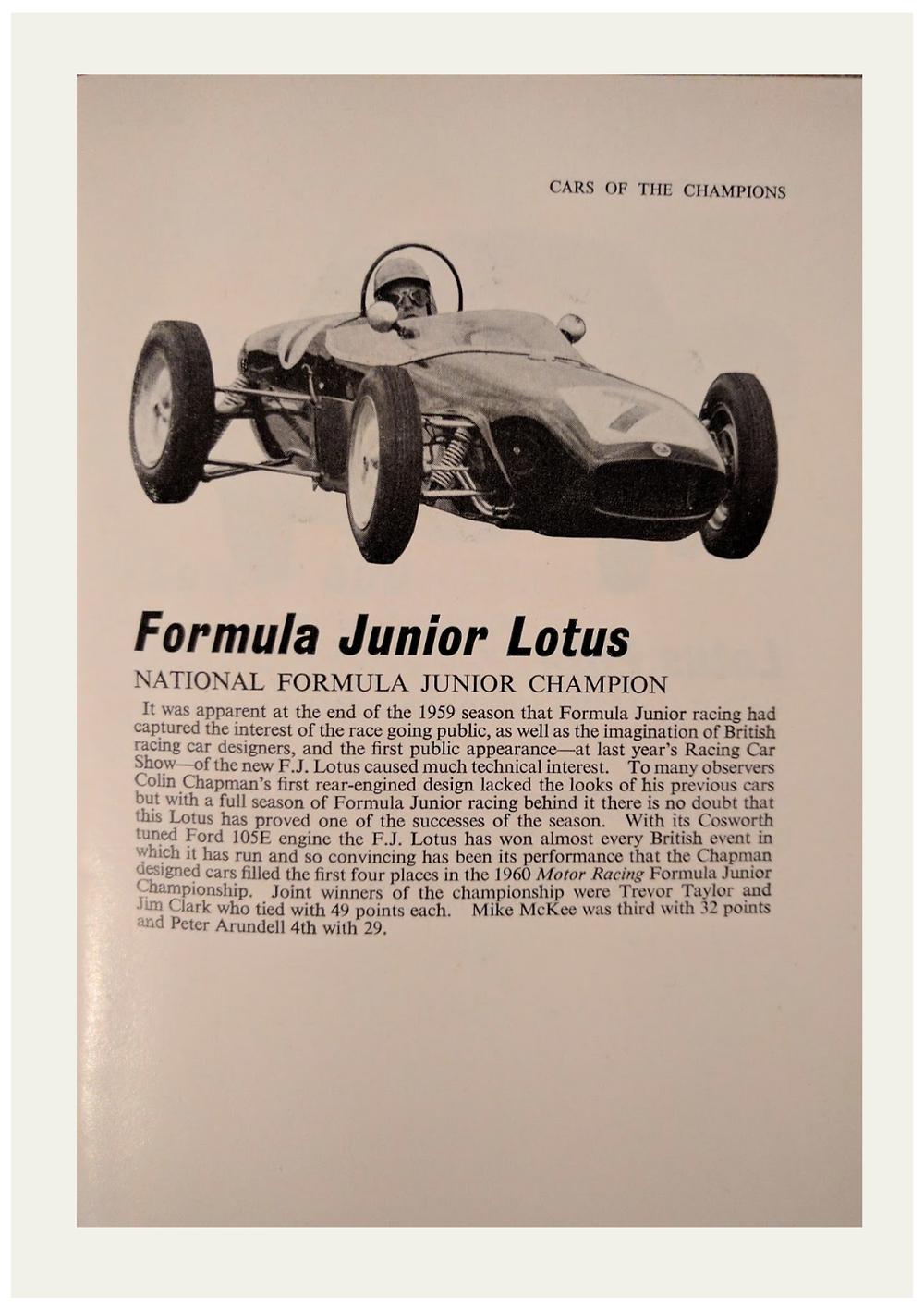 Lotus Formula Junior Car of The Champions