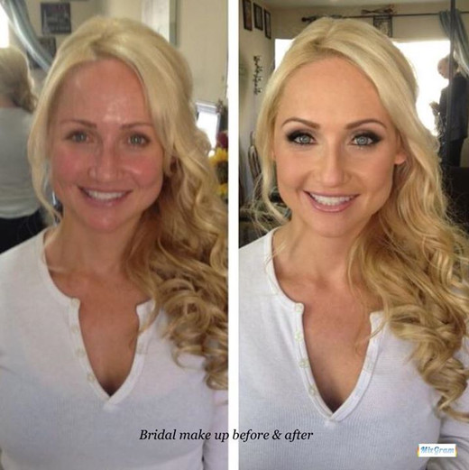 Bridal make up before and after pic 💕.j