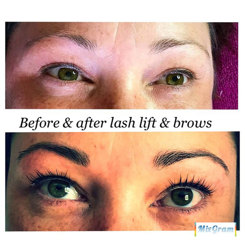Before and after lash lift & tint from y