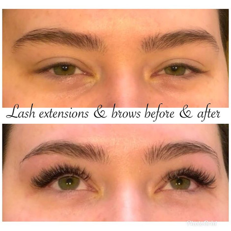 Before and after lash extensions and nat